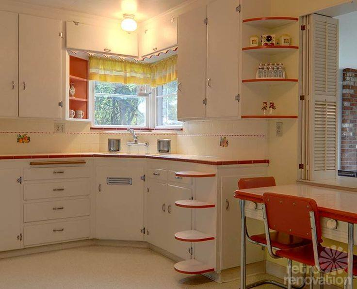 Farm House Retro Kitchen In The Color Combination Of Red & White