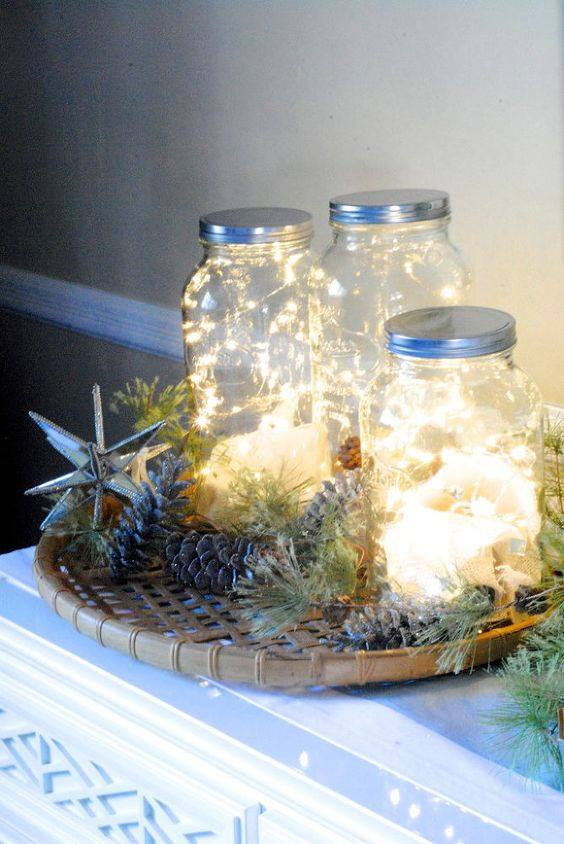 Filled Masson Jar With Light To Decor Home