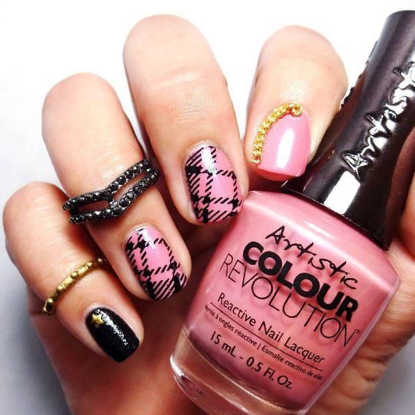 Glam Pink & Black Artistic Nail Design - Glam Pink & Black Artistic Nail Design - Blurmark