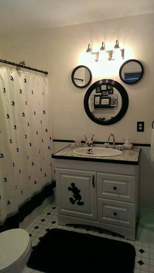 Glamorous Black & White Mickey Mouse Bathroom Design