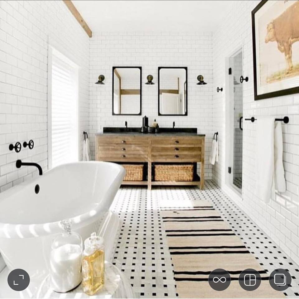 Glamorous White Bathtub, Tiles, Black Metal Frames Mirrors, Wooden Cabinets & Awesome Flooring