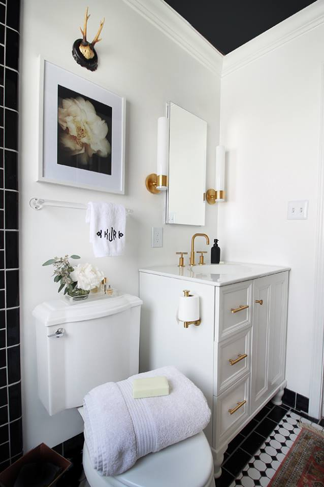 Gorgeous White Vanity & Sink With Black Roof And Black & White Flooring