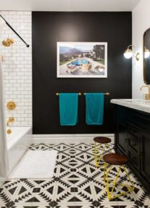 Graceful Black And White Bathroom With, Teal And Yellow Bathroom Decor
