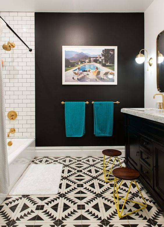 Graceful Black And White Bathroom With Mosaic Floor And Teal Yellow Decor