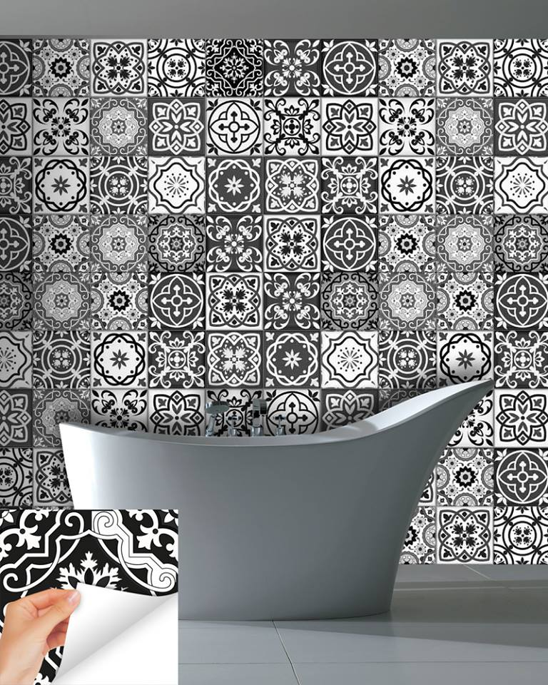 Grey Bathtub & flooring With Black & White Designer Tiles