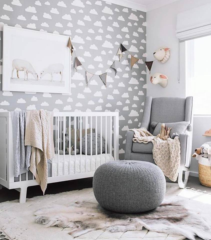 Grey White Baby Boy Nursery Design With Clouds Wall Paint