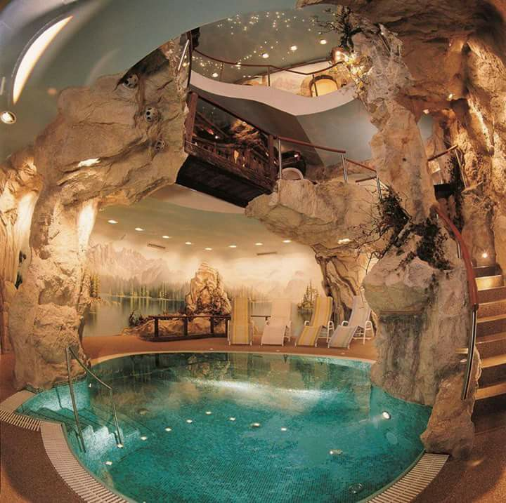 Home Inside Cave With Swimming Pool