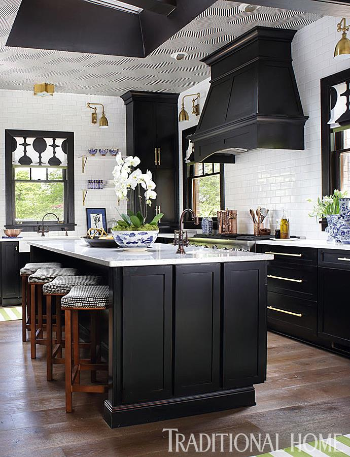 Lovely Art Deco Inspired Kitchen Design With Awesome Ceiling, Black Cup  Boards And White Marble