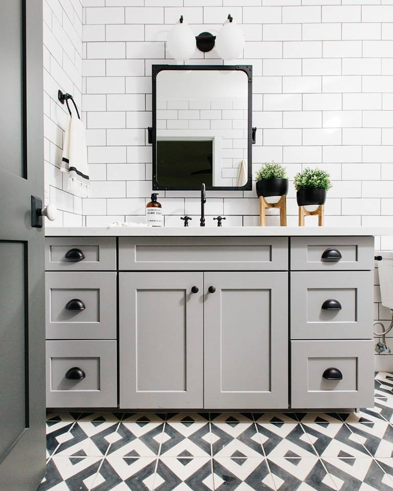 Lovely White Tiles, Cabinets, Black & White Flooring And Accessory