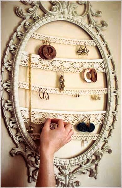 Marvellous Idea To Use Lace In Old Mirror To Hand Earrigs