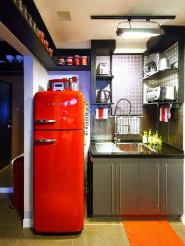 Marvellous Modern Retro Kitchen With Grey Cabinets, Red Storage ...