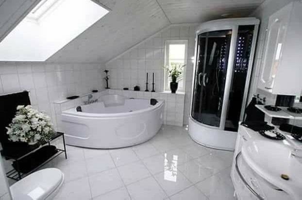 Marvellous White Bathtub, Sink, Vanity, Flooring With Black Accessory & Shower Door