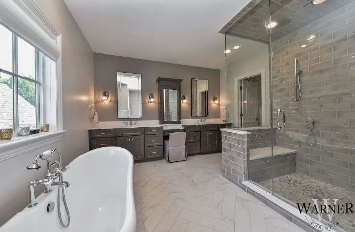 Master Contemporary Bathroom With Neutral Colors