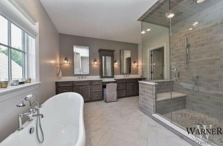 master contemporary bathroom with neutral colors - Contemporary Bathrooms