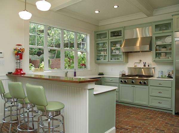 Modish Retro Kitchen With Green Cabinets & Chairs