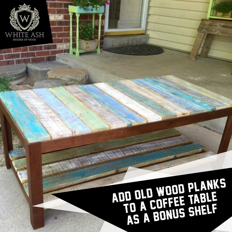 Nice Idea To Used Old Wood Planks To Coffee Table