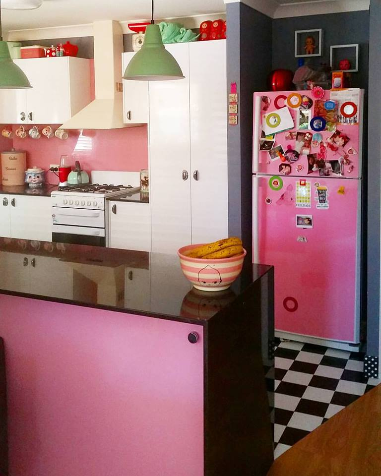 Pinkish Kitchen, Colored Appliance And Black & White Flooring