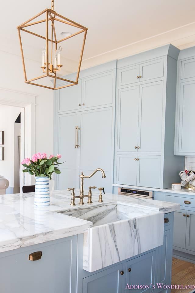 Powder Blue Retro Style Kitchen With Stunning Chandelier, Marble Stone Counter & Sink
