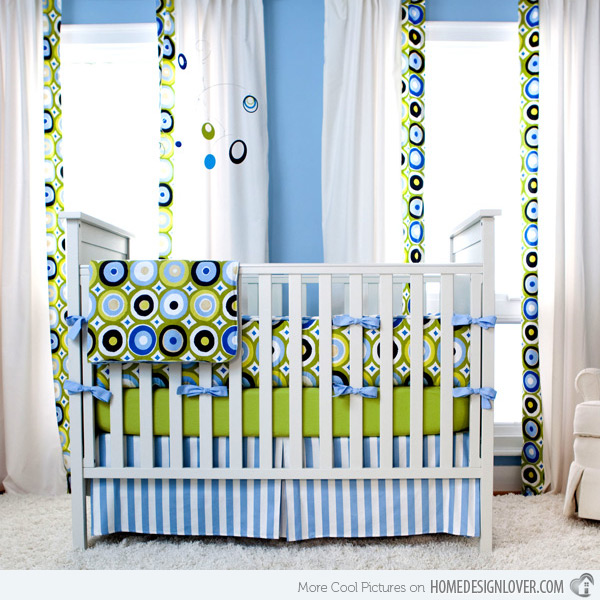 Retro Style Blue And Green Pattern Nursery Design