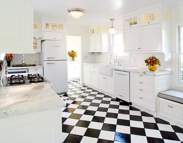 Retro Style White Kitchen With A Pop Of Colour.& White & Black Flooring
