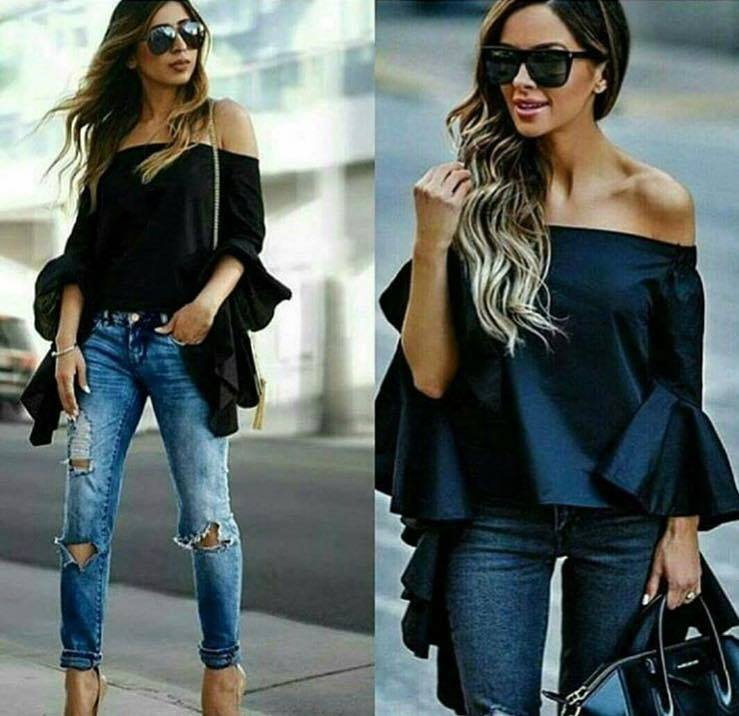 1827f8b7f5e Rocking Off The Shoulder Black Top With Ripped Jeans & Sunglasses ...