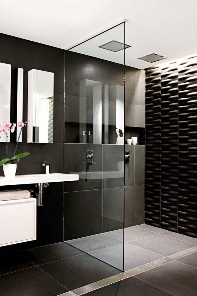 Sassy Black Tiles & White Cabinet With Glass Shower Seperation