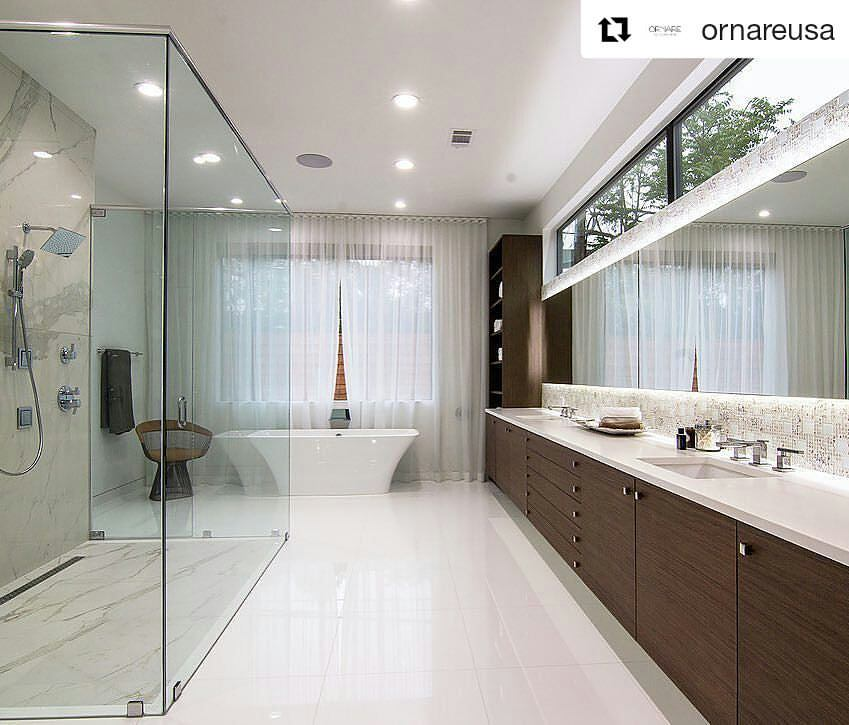 Spacious Contemporary Bathroom Design With Big Mirror, Wooden Storage And  Seperate Shower Space With Glass