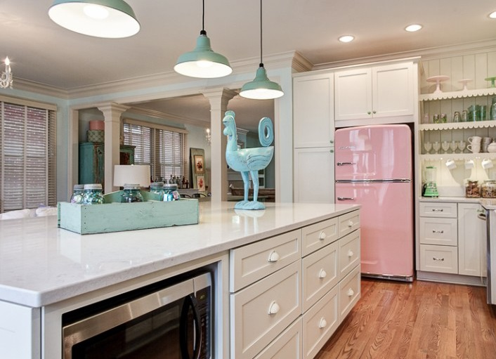 Stainless Steel Appliances, Pink Frigde, White Caninet U0026 Blue Utensils  Oerfect For Retro Kitchen