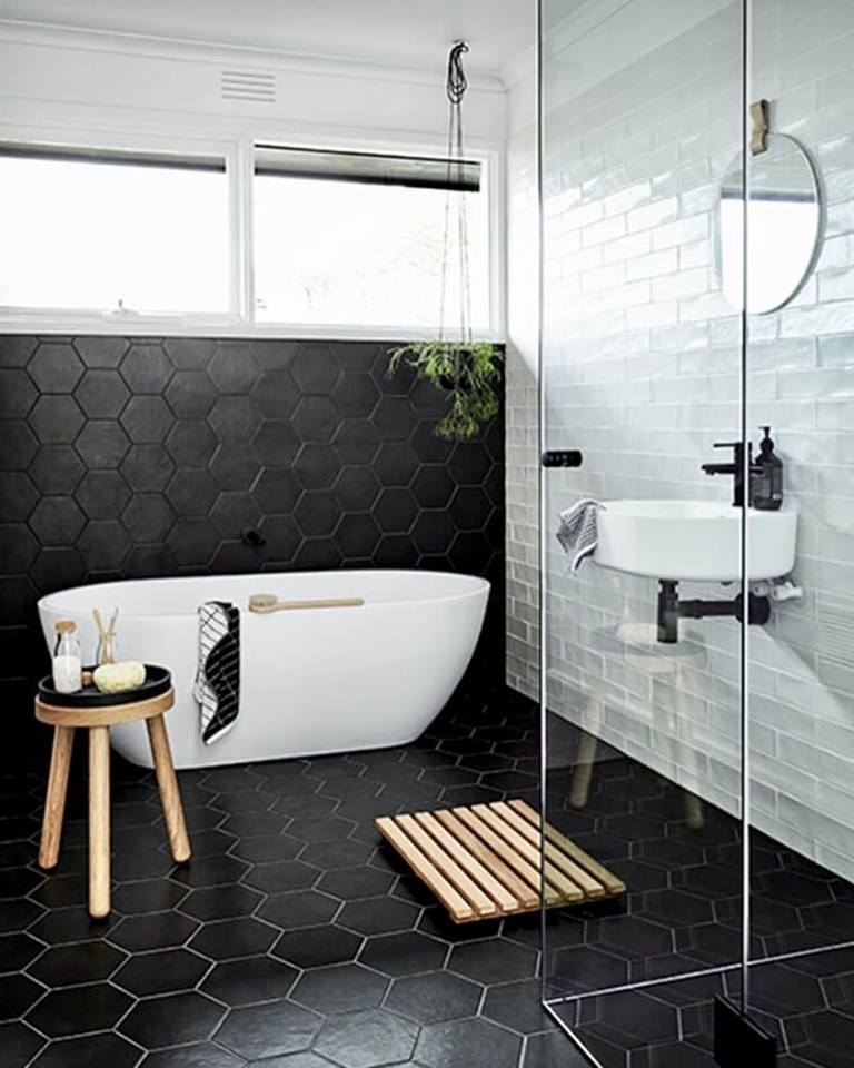 Stunning Black Hexagonal Tiles With White Rectangular Tiles, Bathtub & Sink