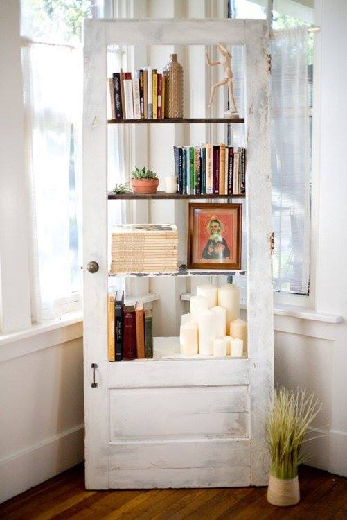 Swanky Idea To Turn An Old Door Into A Bookcase