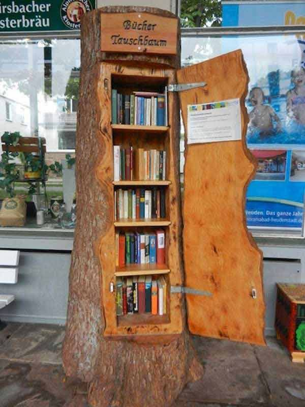 Tree Is Used As Book Shelf