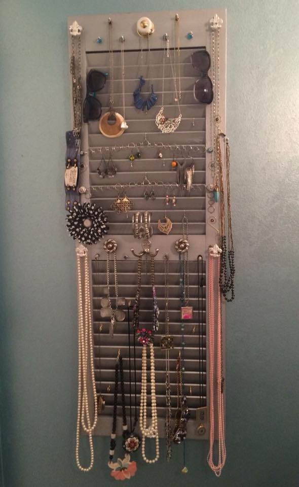 Upcycled Old Shutter As Jewelry Storage