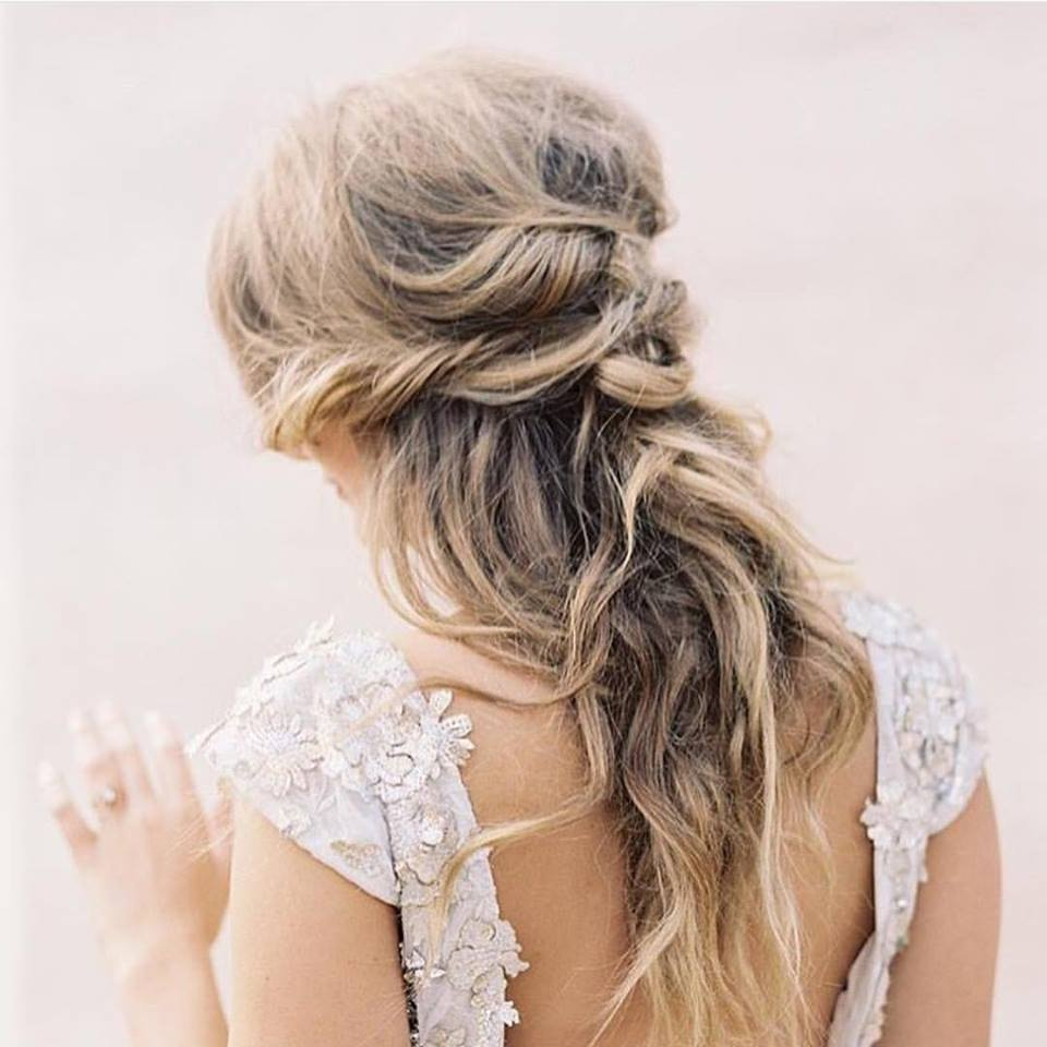 Vintage Bride With Messy Braid & Loose Curls
