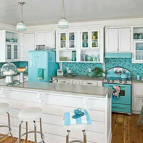 White & Blue Theme Retro Style Kitchen