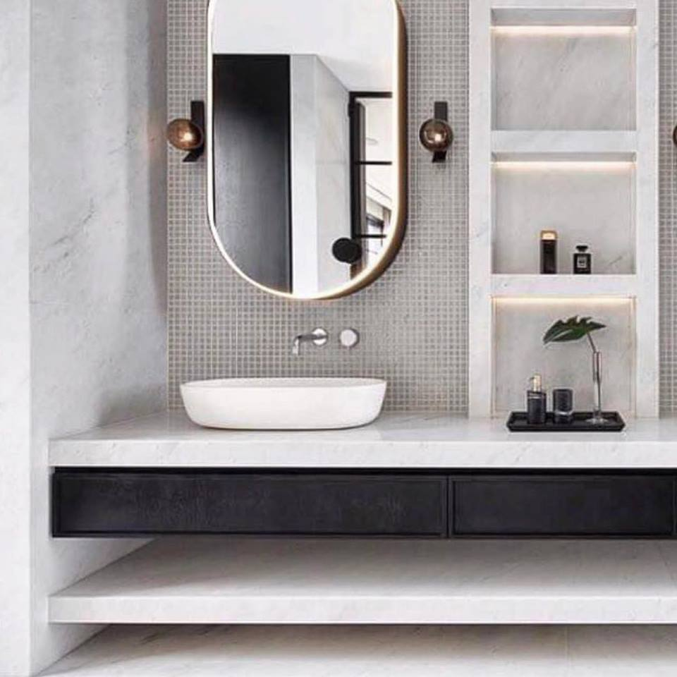 Wonderful Black & White Bathroom With Awesome Sink And Golden Boundry Mirror
