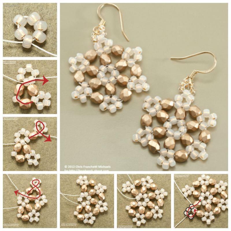Beaded Snowflake Earrings Idea