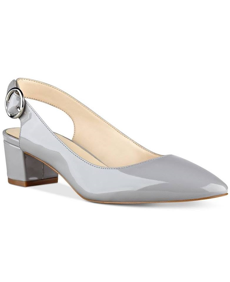Rounded Toe Silver Block Heel Shoes