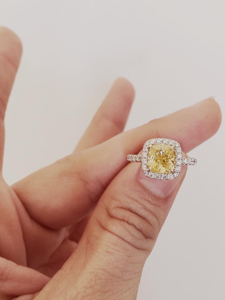 Designer Yellow Diamond Engagement Ring Design - Blurmark