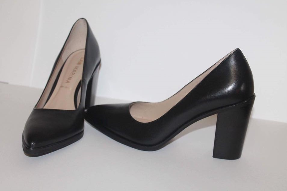d19645a1b9c4d Glamorous Black Leather Block Heel Pumps For Work - Blurmark