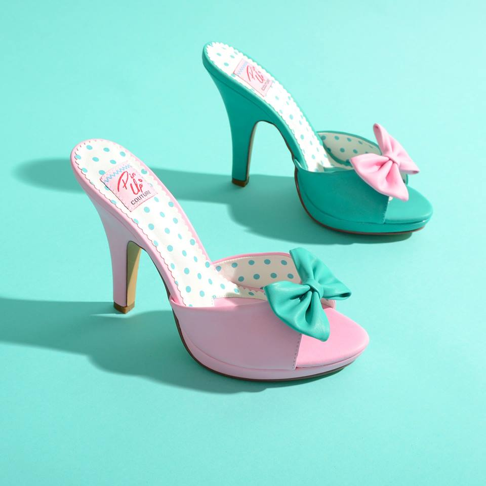 Polka Dots Pink And Teal Wedding Shoes With Bow Blurmark