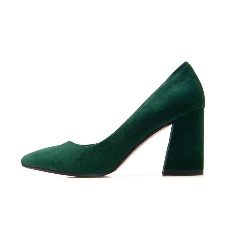 Block Heels Shoes Green
