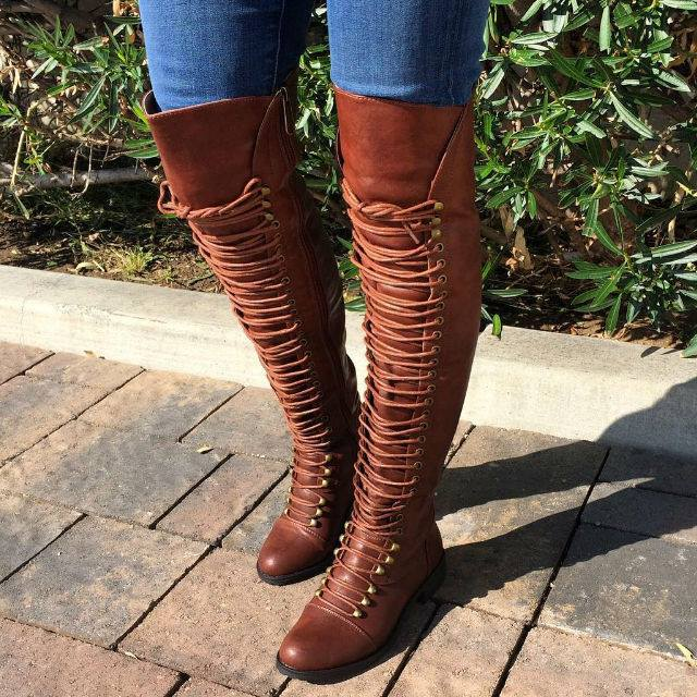 Pointed Shoe Boot Cross Laced Front