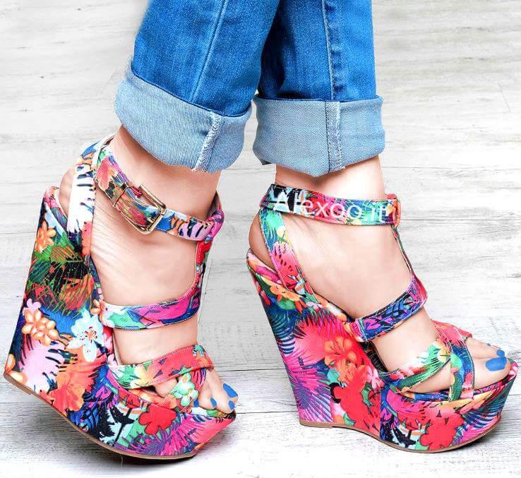 Floral Wedges Heels Sandals Design Blurmark