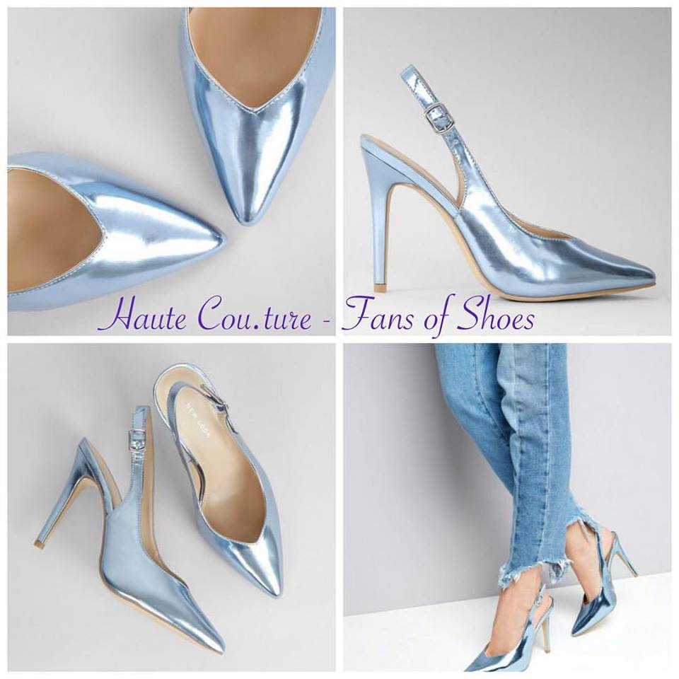 f9204865a29 Marvelous Blue Metallic Pointed Slingback Heels - Blurmark