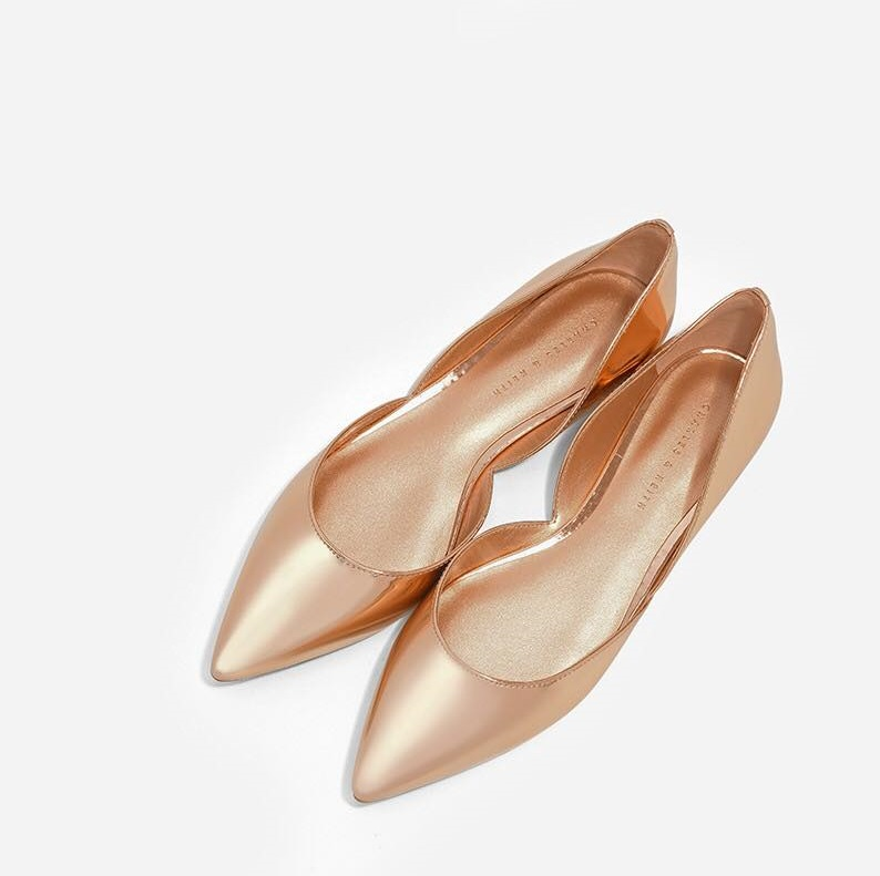 ad51559e9fad Rose Gold Pointed Toe D Orsay Flats - Blurmark