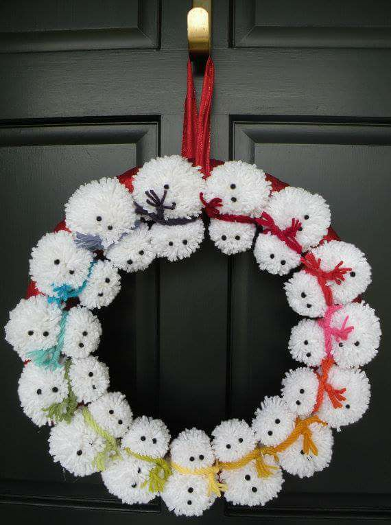 Alluring Snowman Pom Pom Wreath