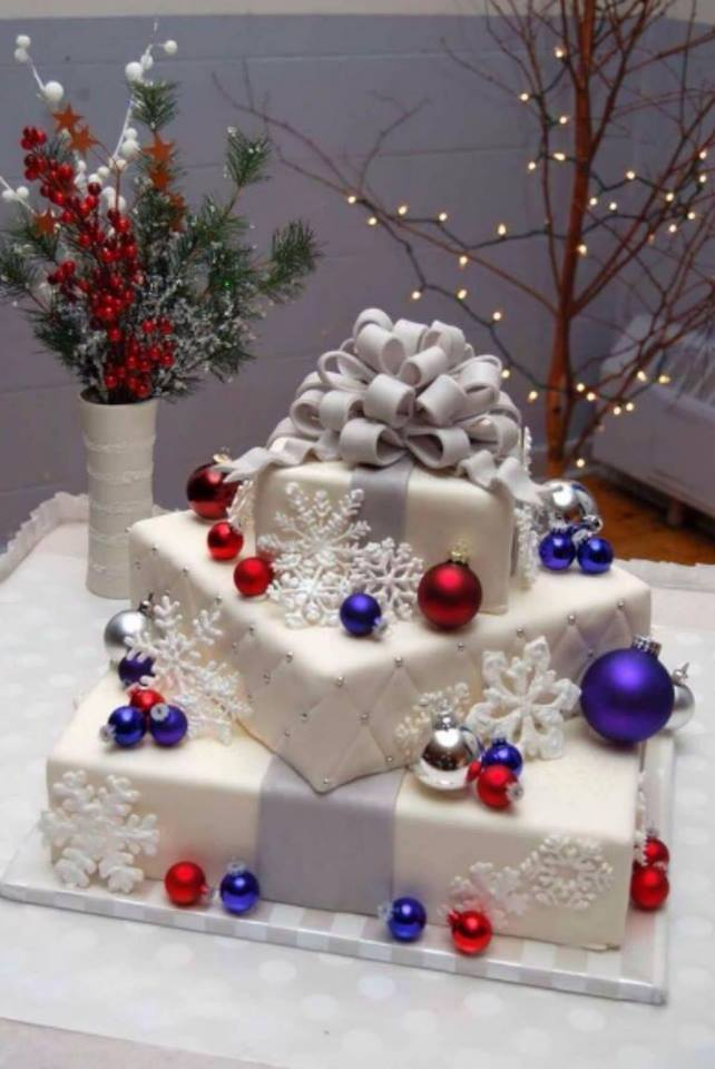Beautiful Ornament With Snowflakes Cake Design
