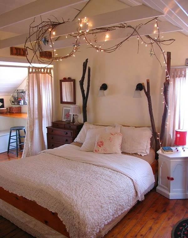 Best Bedroom Decor With Dry Branches And Light