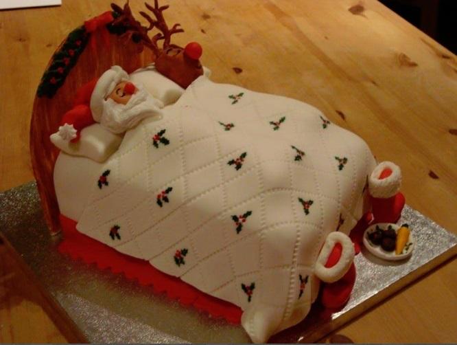 best sleeping santa christmas cake design