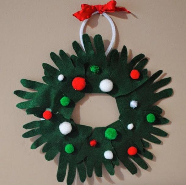 Charismatic Christmas Handprint Felt Wreath